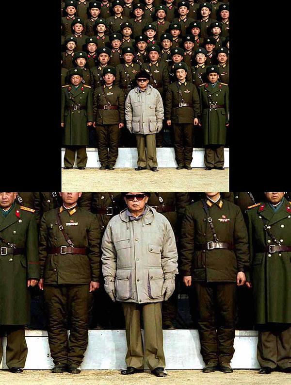 ο Kim Jong , προστέθηκε αργότερα στην φωτογραφία με τα στρατεύματα της Βόρειας Κορέας . Κάποιοι παρατήρησαν ότι το σχέδιο του ξύλου ή μετάλλου που βρίσκεται πίσω του διαφέρει