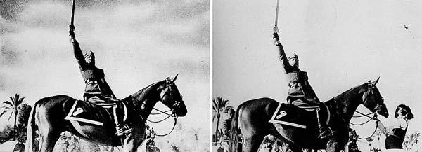 Ο Μπενίτο Μουσολίνι θεώρησε ότι η εικόνα του θα φαινόταν πιο εντυπωσιακή, αν αφαιρούσαν αυτό που κρατάει τα χαλινάρια του αλόγου του.
