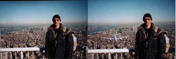 Ένας τουρίστας στέκεται πάνω σε ένα μπαλκόνι σε ένα από τους δίδυμους πύργους στις 09/11/2001. Η ώρα και το αεροπλάνο προστέθηκαν αργότερα.